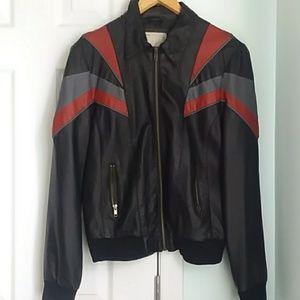 Black pleather jacket w/ grey & red color blocking